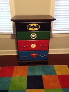 DC superhero dresser for our son's super hero themed nursery
