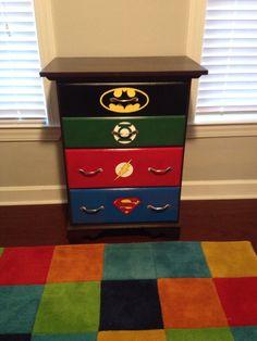 DC superhero dresser for our sons super hero themed nursery