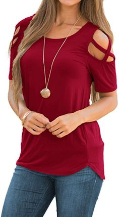 87969e82a62 Adreamly Women s Casual Summer Short Sleeve Loose Strappy Cold Shoulder Tops  Basic T Shirts Blouses Burgundy Medium - Kokania - Best Online Store