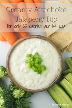 65 Calories and 1 PP Creamy Artichoke Jalapeno Dip made with yogurt and cream cheese! Its delish!