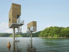 水上に支柱一本で立つ家 - GIGAZINE