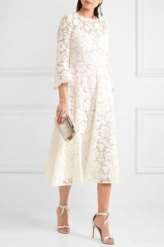 Ivory corded cotton-blend guipure lace Concealed hook and zip fastening at back 71% cotton, 21% viscose, 8% polyamide; lining: 91% silk, 9% elastane Dry clean Made in Italy