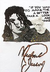 """With my Michael Jackson painted 3d T-shirt I want to give my tribute to Michael Jackson, the King of Pop, who transformed the face of pop music and popular culture. """"If you want to make the world a be"""