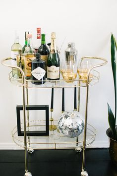 """Check out our internet site for additional information on """"gold bar cart decor"""". It is an outstanding place to learn more. Diy Bar Cart, Gold Bar Cart, Bar Cart Decor, Bar Carts, Bar Trolley, Drinks Trolley, Outside Bars, Disco Ball, Cool Bars"""