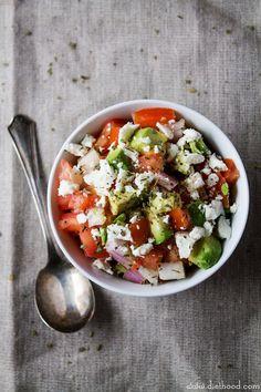 ... chunky, savory, delicious summer salsa | #recipe #avocado #feta #salsa