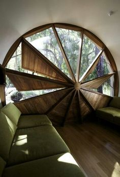 Unique round window leaves light when you want it, and lots of shade when you don't.