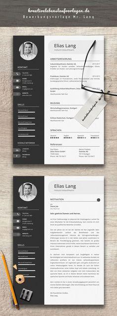 Mr. Lang zeigt Stil und Kreativität in einem. Das Bewerbungspaket geht zwar in eine etwas kreativere Richtung ist jedoch nicht zu verspielt. Nuancierte Schwarzweiß Abstufungen sorgen für den eleganten Look. Das Bewerbungspaket enthält eine kreative Lebenslaufvorlage sowie ein Deckblatt im Corporate Design. Einfach die Datei in Microsoft Word öffnen und die Textfelder bearbeiten.