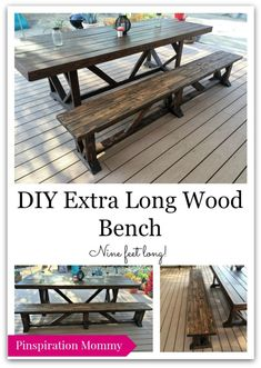 DIY Large Outdoor Dining Table Free plans for building an extra long outdoor wood bench. Seats up to 5 people. The post DIY Large Outdoor Dining Table appeared first on Wood Diy. Outdoor Wood Table, Patio Table, Outdoor Dining, Outdoor Decor, Picnic Tables, Outdoor Ideas, Outdoor Projects, Bench For Dining Table, Outdoor Spaces