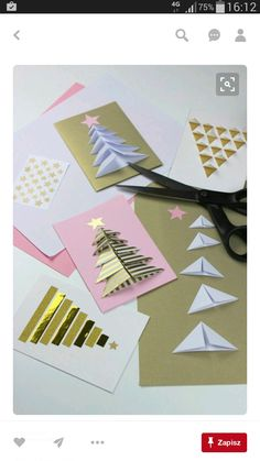 Make Your Own Creative DIY Christmas Cards This Winter - Craft Projects Christmas Origami, Christmas Cards To Make, Noel Christmas, Homemade Christmas, Christmas Decorations, Creative Christmas Cards, Christmas Paper, Rustic Christmas, Theme Noel