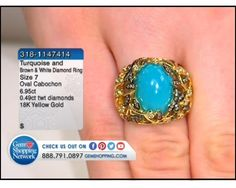 6.95 ct Turquoise Oval Cabochon & 0.49 ctw Brown & White Diamond 18K Yellow Gold Ring, Size 7