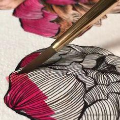 Do It Yourself Bilder, Trending Art, Diy Canvas Art, Fantasy Inspiration, Floral Illustrations, Ink Art, Abstract Landscape, Painting Techniques, Art Tutorials