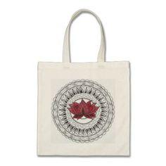 Bolsa  100% Algodón  Asa larga  34 x 40 cm  Color Natural. Talla unica. Ilustración estampada creada por nosotros. Flor de lotto roja. de CreativeTienda en Etsy