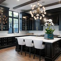 Beau Black Kitchen Cabinets With Brass Cremone Bolts