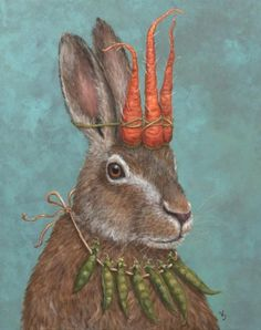 How charming is this illustration? A rabbit with a carrot headpiece and green pea necklace. Lapin Art, Rabbit Art, Bunny Art, Art Et Illustration, Rabbit Illustration, Whimsical Art, Community Art, Illustrators, Folk Art