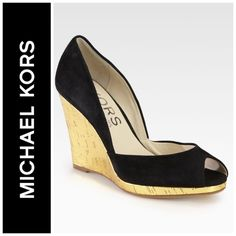 💥Priced to Sell! Michael Kors Black Vail Suede Sold out… Kors by Michael Kors Black Vail Suede Metallic Cork Wedge Pumps 9.5. Excellent condition. Michael Kors Shoes Wedges