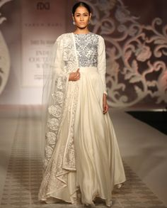 Ivory Anarkali Suit with Dabka Work - Varun Bahl - Couture Week 2014 - India Couture Week '14 - Off The Runway