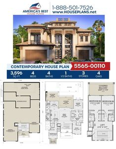 Searching for a 3-story house plan? Plan 5565-00110 is perfect for you, delivering 3,596 sq. ft., 4 bedrooms, 4.5 bathrooms, a covered balcony, a loft, and a study. Find more information about this plan on our website. Foyer Storage, Storage Spaces, Plan Plan, How To Plan, Outdoor Dining, Indoor Outdoor, Outdoor Bedroom, Contemporary House Plans, Flat Roof