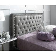 Rhea silver velvet feel bed frame with slatted base and studded headboard.