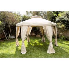 Portable 12' Diagonal Hex Patio Gazebo with Double Roof  &  When it rains, this better than a screen. Nice neutral color to fit any decor.