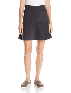 """prAna Women's Gianna Skirt, X-Small, Charcoal. Heather Ponte knit. Pull on skirt with flounce hem and seaming details. Size small = 17 5"""""""" (44.45 cm) out seam."""