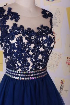 Navy Blue Beading Lace Short Prom Dress Lace by LiyanageBoutique