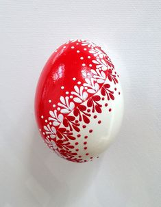 Goose Red White Egg, Hand Decorated Painted Easter Egg
