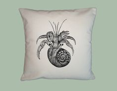 Fabulous Vintage Hermit Crab Illustration HANDMADE 16x16 Pillow Cover -Choice of Fabric - image in ANY COLOR by WhimsyFrills on Etsy
