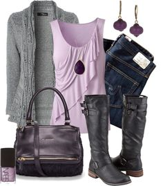 Gray Sweater, Purple Tank Top, Blue jeans, Black Purse & Boots