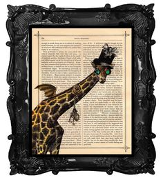 Antique Steampunk Art Print GIRAFFE  illustration beautifully upcycled dictionary page clock book art print. $10.00, via Etsy.