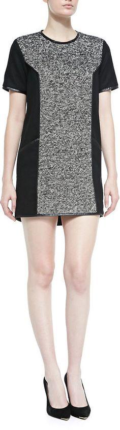 Valentina Shah Gaia Combo Leather-Trim Minidress