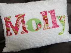 Personalized Name Pillow Applique on Chenille by RainyDayQuiltCo $34.00 & Sewing Machine Pillow Cushion | Sewing projects Sew pillows and ... pillowsntoast.com