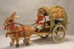 Antique German Easter Rabbit Candy Container Pulling Cart with Rider C1910 | eBay