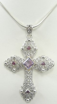 Sterling Silver Square Snake Chain Garnet Amethyst Cross Pendant Necklace #Pendant