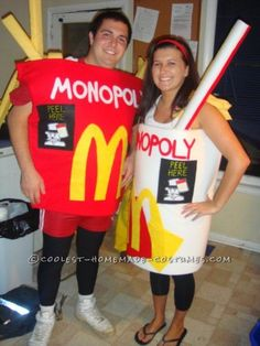 Original McDonald's Monopoly Couples Costumes - Kostüm Ideen Homemade Couples Costumes, Couple Halloween Costumes, Halloween Diy, Adult Costumes, Halloween Tricks, Woman Costumes, Pirate Costumes, Group Costumes, Halloween Outfits