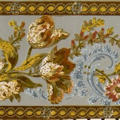 Flocked Floral Border with Blue Flitter - Antique Wallpaper Roll Antique Wallpaper, Original Wallpaper, Borders For Paper, Floral Border, Wallpaper Roll, Flocking, Antiques, Pattern, Branches