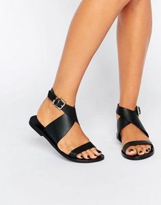 Sol Sana Kennedy Cross Strap Leather Flat Sandals