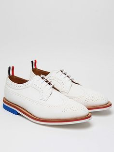 Thom Browne Men's White Wingtip Brogue with Micro Sole for spring/summer '12