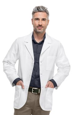 Clearance Professional Whites by Cherokee MED MAN Consultation 31 Healthcare Uniforms, Medical Uniforms, Hospital Uniforms, Lab Coats For Men, White Lab Coat, Medical Photography, Medical Technology, Technology Humor, Technology Design