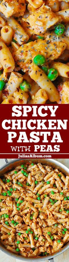 Spicy Chicken Penne Pasta with Peas - with spicy and creamy tomato Mozzarella cheese sauce.