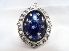 Blue Holographic Star Glitter Nail Polish Necklace - 'Seeing Stars' Handmade Sparkly Iridescent Silver-plated Nail Varnish Pendant Jewelry