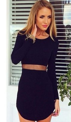 Buy Black Long Sleeve Slim Bodycon Dress from abaday.com, FREE shipping Worldwide - Fashion Clothing, Latest Street Fashion At Abaday.com