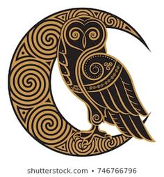 Owl hand-drawn in Celtic style, on the background of the Celtic moon ornament, isolated on white, vector illustration; compre este vectores en stock en Shutterstock y encuentre otras imágenes. Celtic Tattoos, Viking Tattoos, Tribal Tattoos, Celtic Band Tattoo, Wiccan Tattoos, Indian Tattoos, Symbol Tattoos, Celtic Symbols, Celtic Art