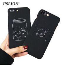 Uslion простой Желая бутылки планета телефон чехлы для iPhone 7 луны и звезд Футляр PC задняя крышка Капа Coque для iPhone7 6 6S плюс(China)
