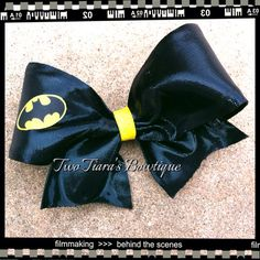 Superhero Batman or Superman cheer style  bow you pick by Two Tiara's Bowtique on Etsy or Facebook group