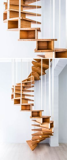 18 Examples Of Stair Details To Inspire You // This spiral wood staircase has open cubbies in each of the steps to provide extra storage.