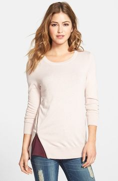 Halogen® Zip Detail Pullover Sweater (Regular & Petite) available at #Nordstrom
