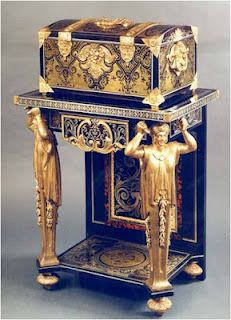 French Louis XIV Ormolu-Mounted Marquetry Coffer on Stand by André Charles Boulle. Paris circa 1680