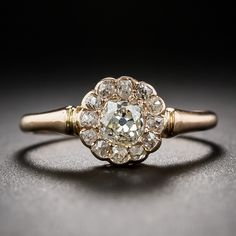 Antique Rose Gold Cluster Ring