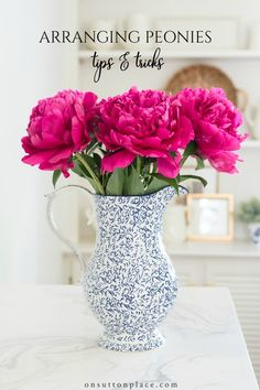 Use these tips & tricks for arranging peonies to easily display this beautiful flower in your home. Includes suggestions for preparation and vessels. #peony #peonies #gardens #gardening #flowers #pink