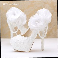 47.99$  Buy now - http://ali71l.worldwells.pw/go.php?t=32670423568 - Big Flower Women Pumps White Lace Pearls Bridal Wedding Shoes Platform High Heels Party Dress Shoes Woman 47.99$